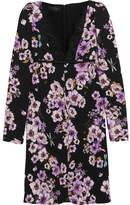 Giambattista Valli Lace-trimmed Floral-print Silk-crepe Mini Dress