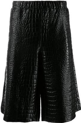 Comme des Garcons embossed crocodile effect shorts