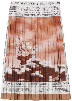 Burberry Mariner Print Pleated Cady Skirt