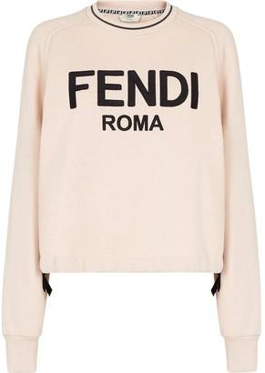 Fendi Roma Logo Sweater Snake Pink