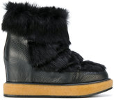 Paloma Barceló fur trim wedged boots