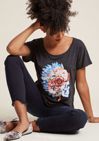 ModCloth Floral Skull Graphic Tee in 2X - Short Sleeve Regular Waist