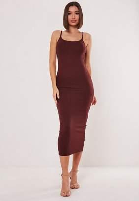 Missguided Rib Strappy Midi Dress