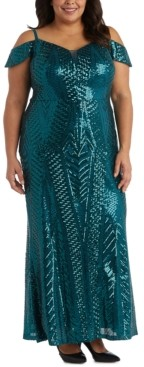 Night Way Nightway Plus Size Sequinned Cold-Shoulder Gown