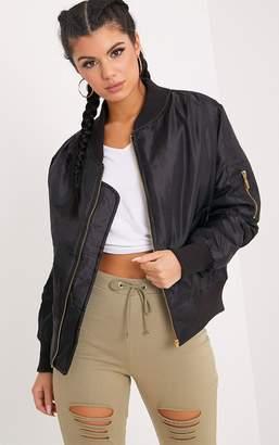 PrettyLittleThing Alexus Black Bomber Jacket