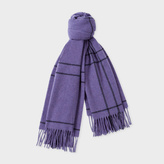 Paul Smith Women's Purple Windowpane Check Pattern Wool Scarf