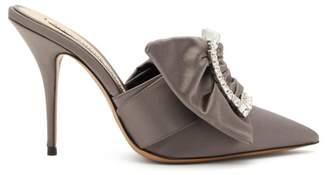 Alexandre Vauthier Lola Crystal Embellished Buckle Satin Mules - Womens - Grey
