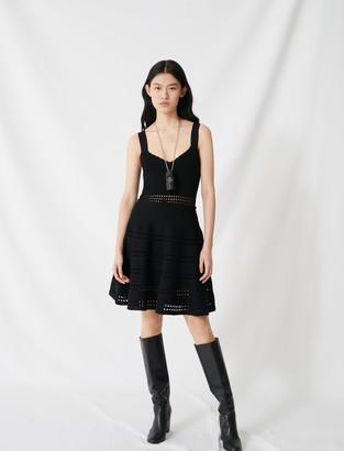 Maje Openwork knit skater dress