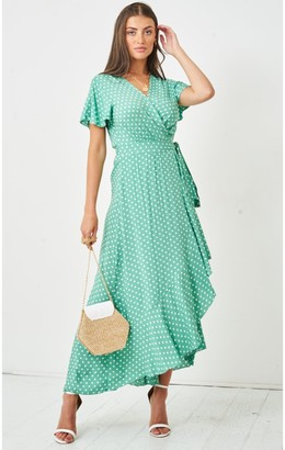 Love Frontrow Polka Dot Short Sleeve Maxi Wrap Dress | Green