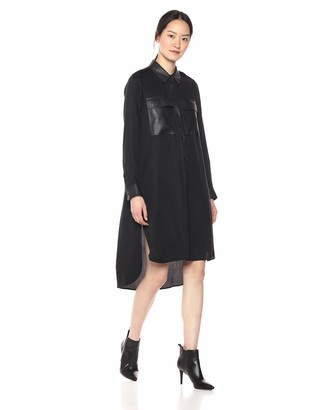 BCBGMAXAZRIA Azria Women's Faux Leather-Trimmed Shirt Dress