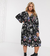New Look Plus Curve belted long sleeved shirt dress in black floral