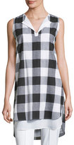 Misook Sleeveless Gingham Layered Shirt, Plus Size