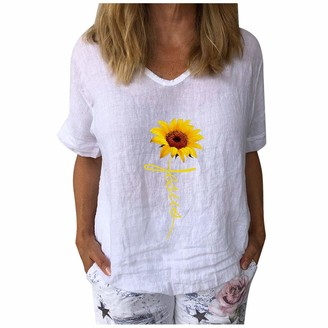 CUTUDE Womens Short Sleeve Sunflower Printed V-Neck Tops T-Shirt Ladies Loose Casual Blouse Cotton and Linen Summer Shirt Tee (White-E S)