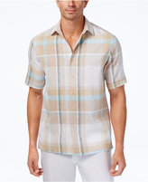 Tasso Elba Men's Island Plaid Linen Blend Shirt