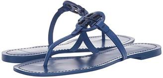 Tory Burch Mini Miller Leather Thong (Nautical Blue) Women's Shoes