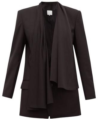 Tibi Tropical Scarf Single-breasted Twill Jacket - Womens - Black
