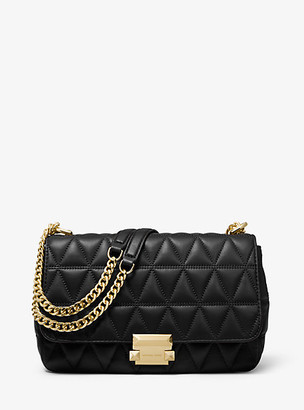 MICHAEL Michael Kors MK Sloan Large Quilted Leather Shoulder Bag - Black - Michael Kors