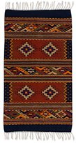 Novica Blue and Red Wool Geometric Area Rug (2' x 3.5'), 'Star Vision'