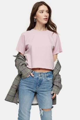 Topshop Womens Mauve Raglan Crop T-Shirt - Mauve