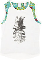 Scotch R'Belle PINEAPPLE- & BEACH-PRINT TANK-CREAM SIZE 16