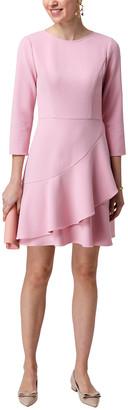 Shoshanna Tasha Crepe 3/4 Sleeve Ruffle Hem D Dress