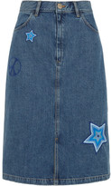 MiH Jeans Parra Embroidered Denim Skirt - Mid denim