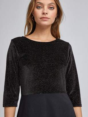 Dorothy Perkins Petite Glitter Fit And Flare Dress - Black