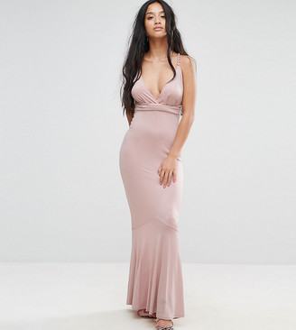 ASOS Slinky Deep Plunge Fishtail Plait Strap Maxi Dress