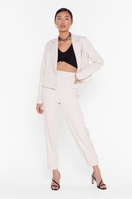 Nasty Gal Womens So Bossy Tailored Tapered Trousers - Beige - 14