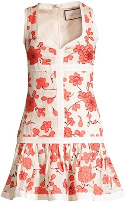 Alexis Lilou Floral Mini Linen Flounce Dress