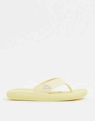 Lacoste croco thongs in yellow