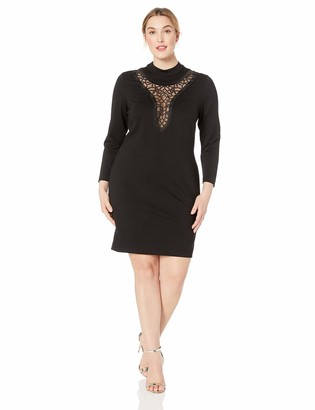 Dress the Population Women's Size Hayden Stretch Knit Long Sleeve Mini Mock Neck Dress Plus