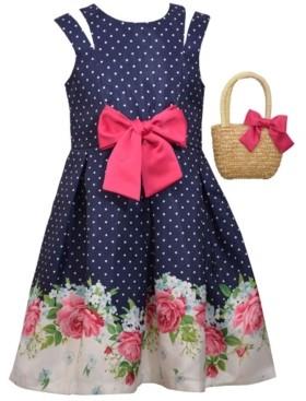 Bonnie Jean Little Girls Sleeveless Shantung Floral Border Print Dress with Straw Handbag