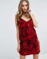 Missguided Cami Dress in Floral Velvet