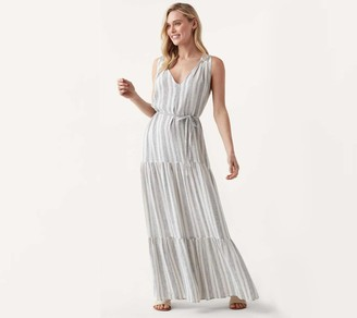 Splendid Tiered Stripe Maxi Dress - Rosemary