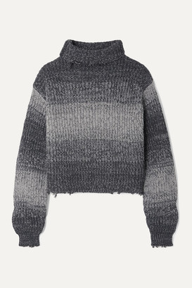RtA Beau Cropped Distressed Ombre Cotton Turtleneck Sweater - Gray