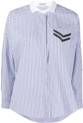 Brunello Cucinelli Embellished Pocket Striped Shirt