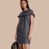 Burberry Ruffle Trim Cotton Chambray Shift Dress