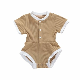 Longfei Newborn Baby Girl 2PCS Summer Clothes Set Romper Jumpsuit One-Piece Outfits (Camel 6-12 Months)