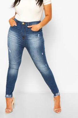 boohoo Plus Super Distressed Raw Hem Skinny Jeans