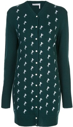 Chloé dark pine green horse embroidered cardigan dress