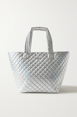 MZ Wallace Metro Medium Leather-trimmed Quilted Metallic Shell Tote - Silver