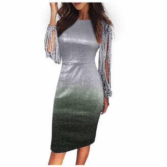 KPILP Fashion Dress Women Tassel Long Sleeve Round Neck Sexy Slim fit Party Hollowing Out Gradual Change Dress Ladies Maxi Dress Night Gown Sequins Summer Dresses Gray