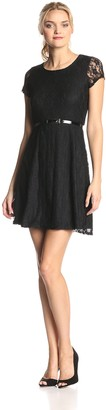 Star Vixen Women's Short Sleeve Lace Skater Dress