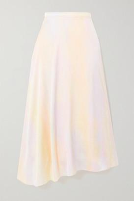 Vince Asymmetric Printed Satin Midi Skirt - Lilac