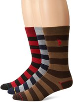 U.S. Polo Assn. Men's 3 Pack Rugby Stripe Crew Sock