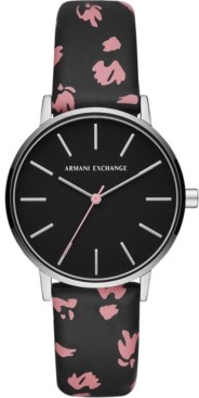 AX Armani Exchange Women's Lola Black Floral Leather Strap Watch 36mm