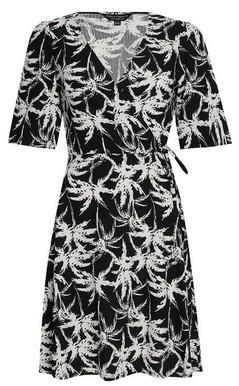 Dorothy Perkins Womens Black Palm Print Jersey Crepe Wrap Dress, Black