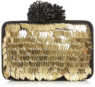 Moda In Pelle Shimmyclutch Black And Gold Metallic Suede