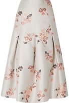 Co Pleated Floral-jacquard Midi Skirt